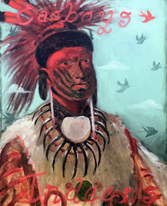 EVAN JONES   Caoboys & Indeens  acrylic on canvas 30 x 24 inches