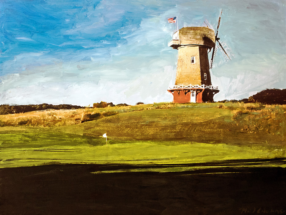 Plaid Columns   National Golf Links of America mixed media on panel 30 x 40 inches SOLD