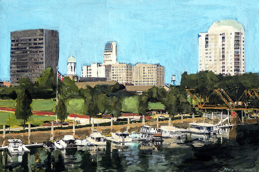 Plaid Columns   Augusta Riverfront mixed media on panel 24 x 36 inches SOLD