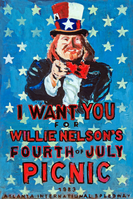 Plaid Columns   Willie Nelson Wants You mixed media on panel 45 x 30 inches