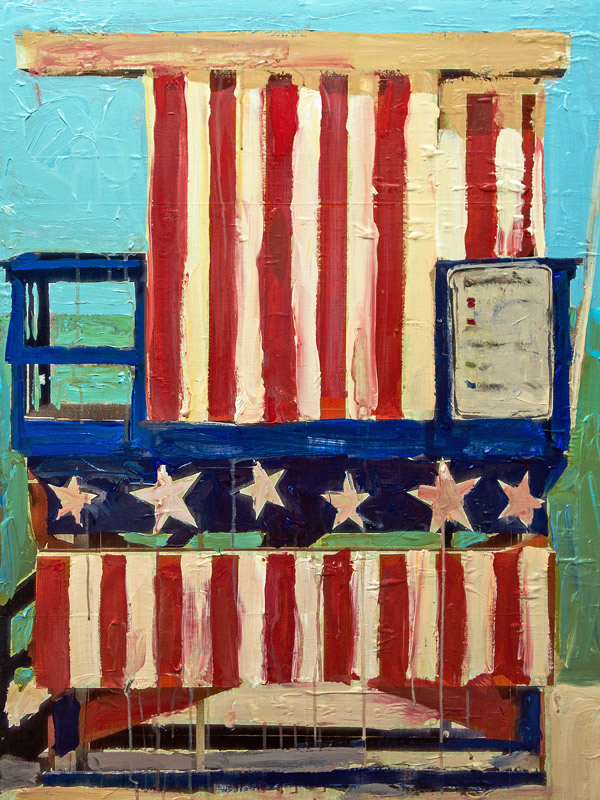 Plaid Columns  Stars & Stripes On The Beach mixed media on panel 40 x 30 inches