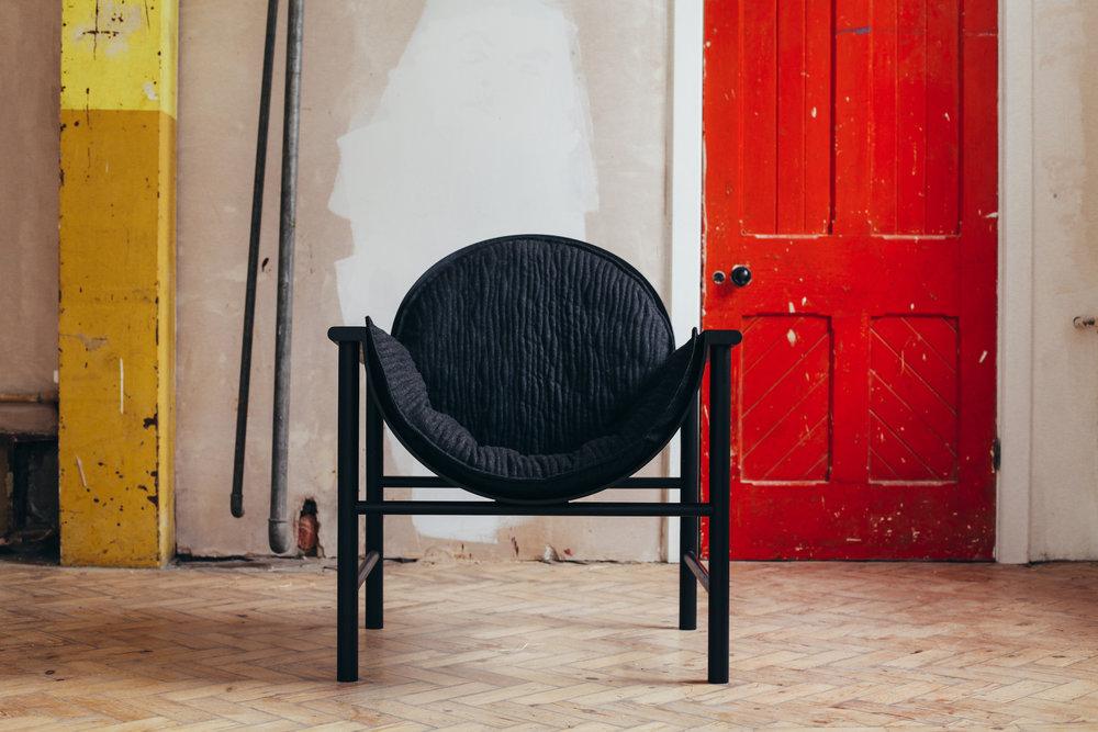 Lunar chair upholstory Felix McCormach front .jpgUpholsery for Felix Mccormach Lunar Chair front