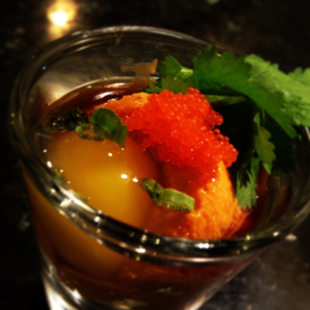 Need a kick start to make your meal great? Try out Mikimoto's very own Uni shot! Always fresh, otherwise we don't have it. Order up! #nolasushi #uni #sushishot #sirirachi #mikimotosushi
