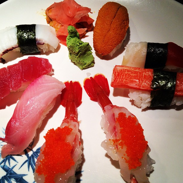 Great assortments at #mikimotosushi #mikimotosushinola #shrimp  #amaebi #octopus #tuna #yellowtail #uni #seaurchin #japanese #foodporn #foodies #protein