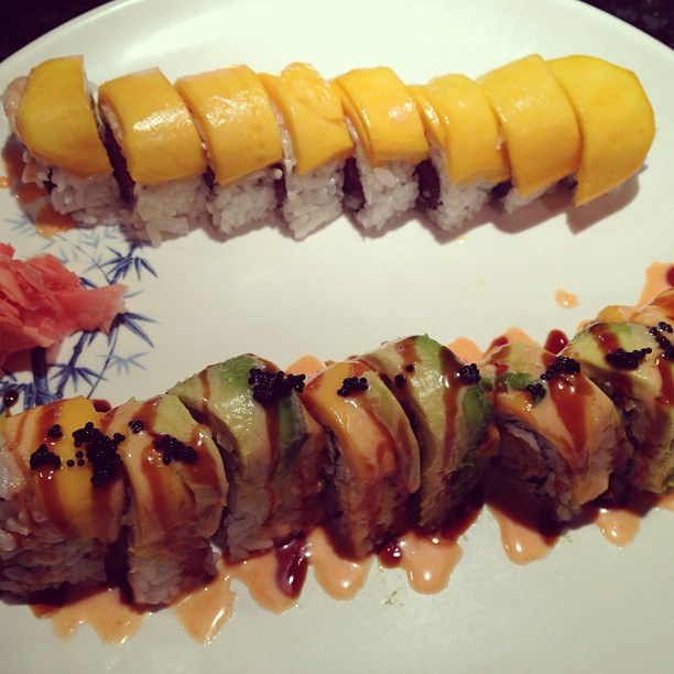 Our Mango Mania and Paradise Rolls are perfect to cool you down this summer!  #refreshing #avocado #mango #blacktobiko #coconutshrimp #freshsalmon