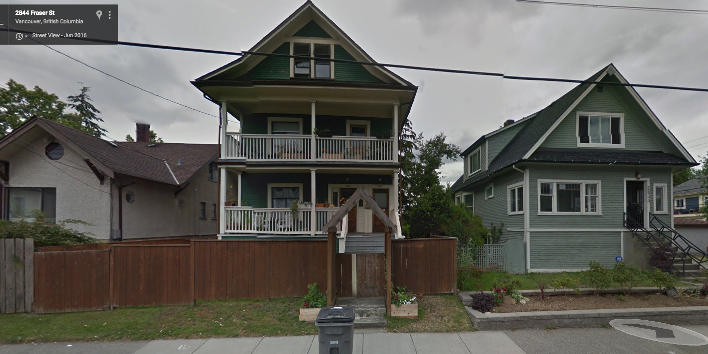 Vancouver Plus at Fraser and 12th with two entry doors and two balconies facing the street.  The house to the right exemplifies the 'single family'  housing form that is allowed in RS zones.                     Image source: Google Street View