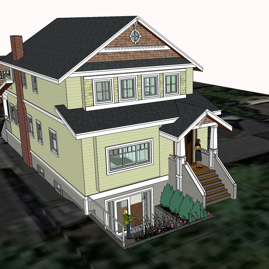 Proposed policy: Allow additional doors to face the street so that basements, or main floor living areas can make better use of the front yard.