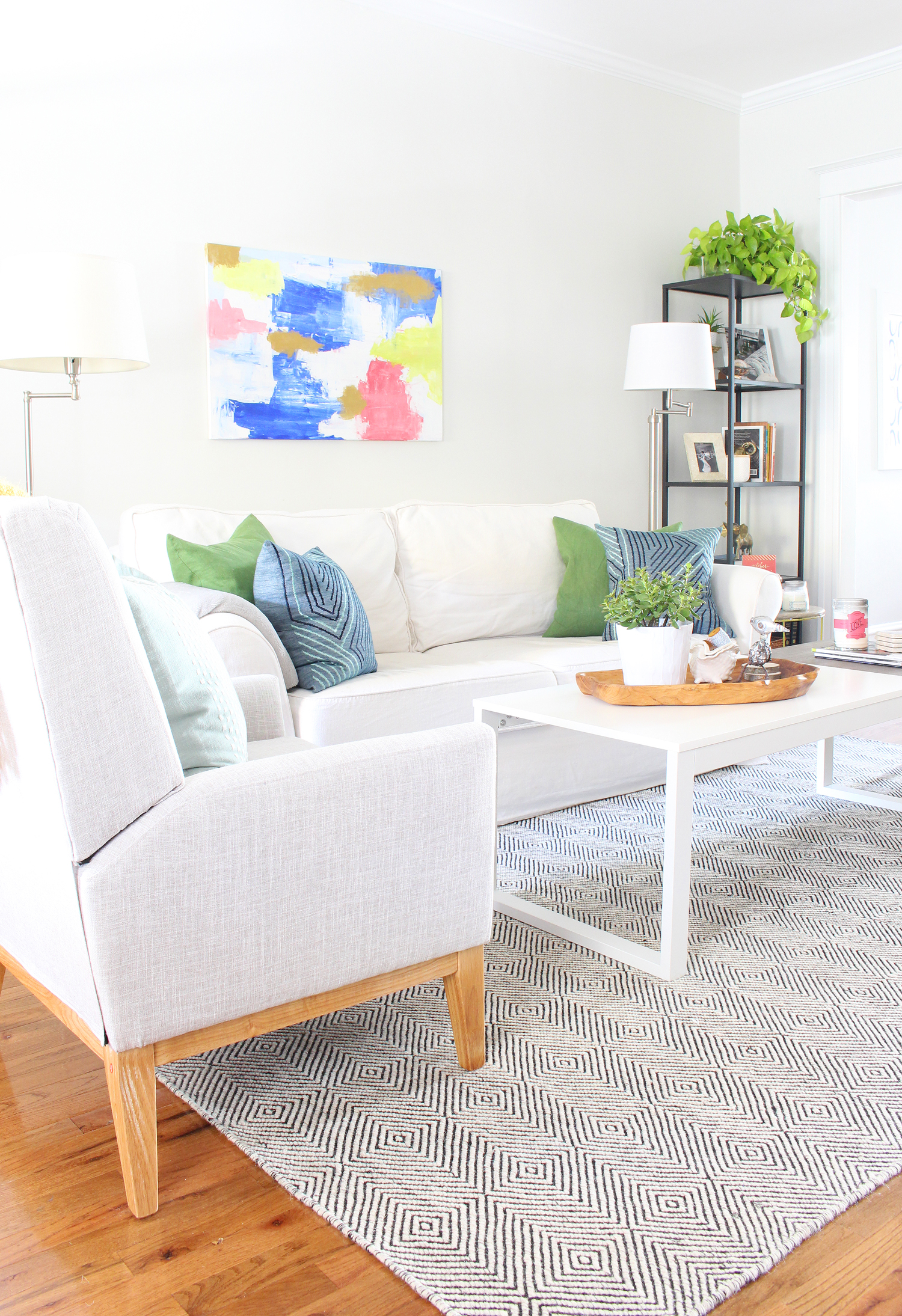 Eclectic modern light and bright living room