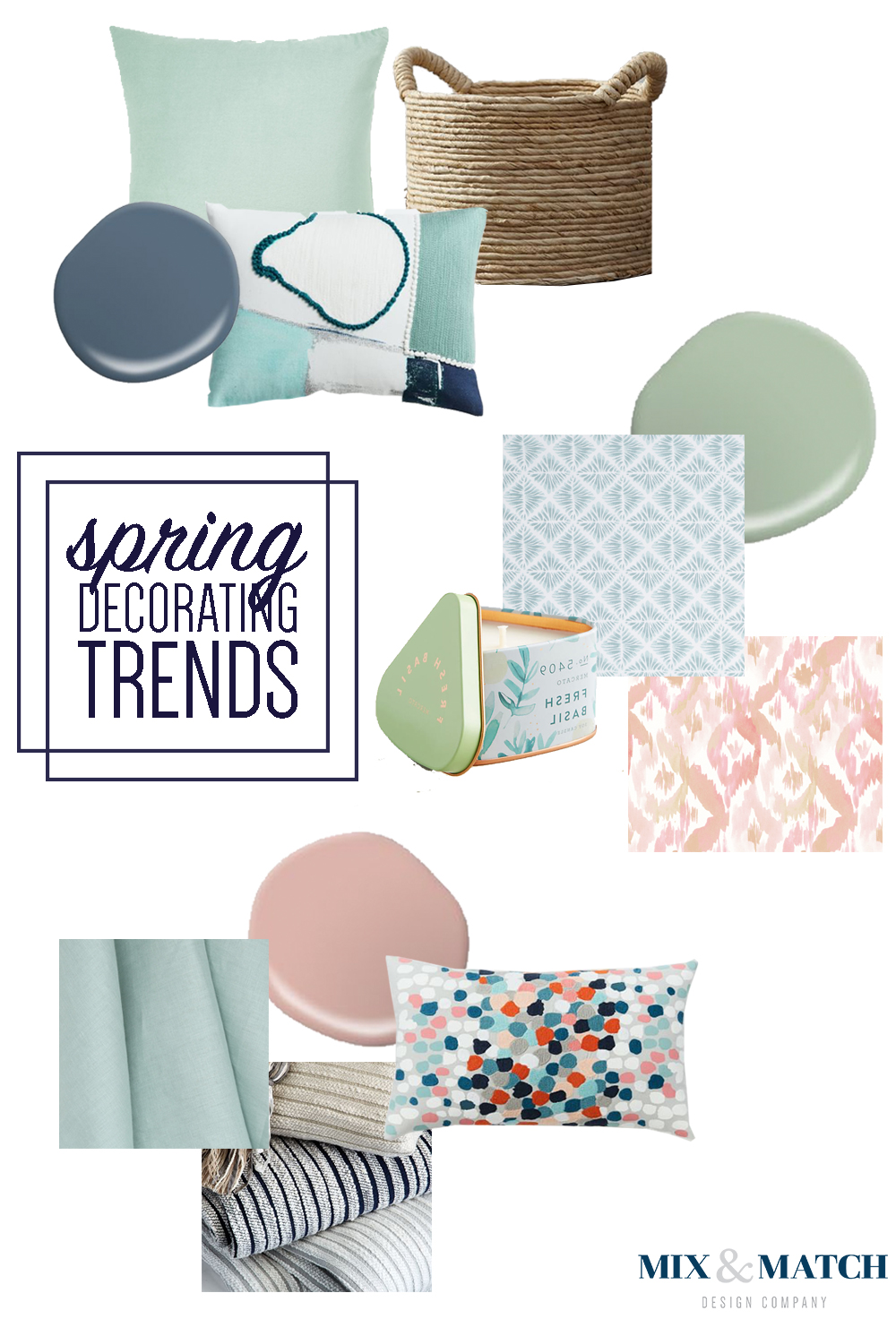 Mix & Match Design Company talks spring 2017 trends. Themes: colors and the concept of cozy.