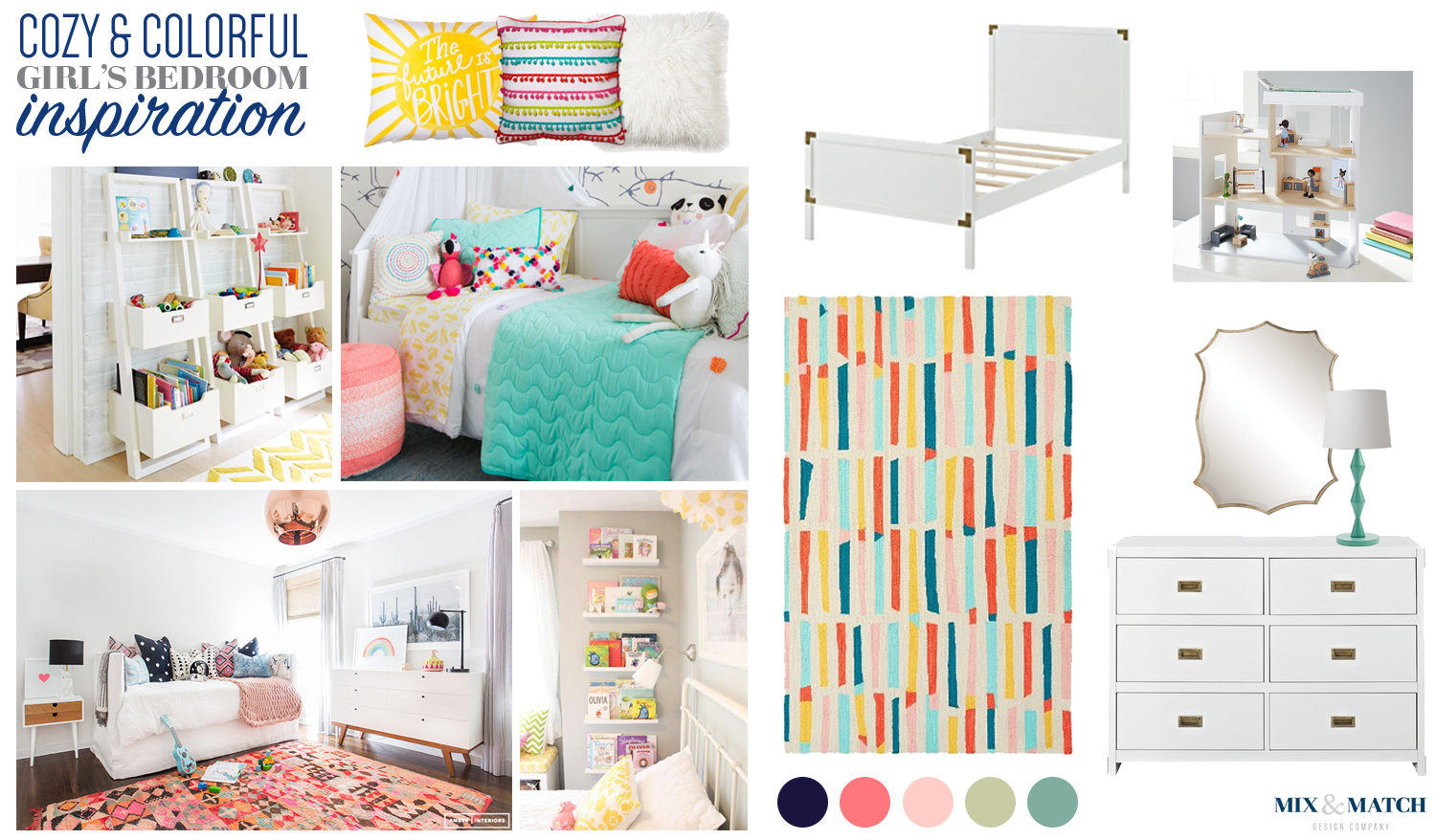 Cozy and colorful girl's bedroom (pink, navy, turquoise, and green)