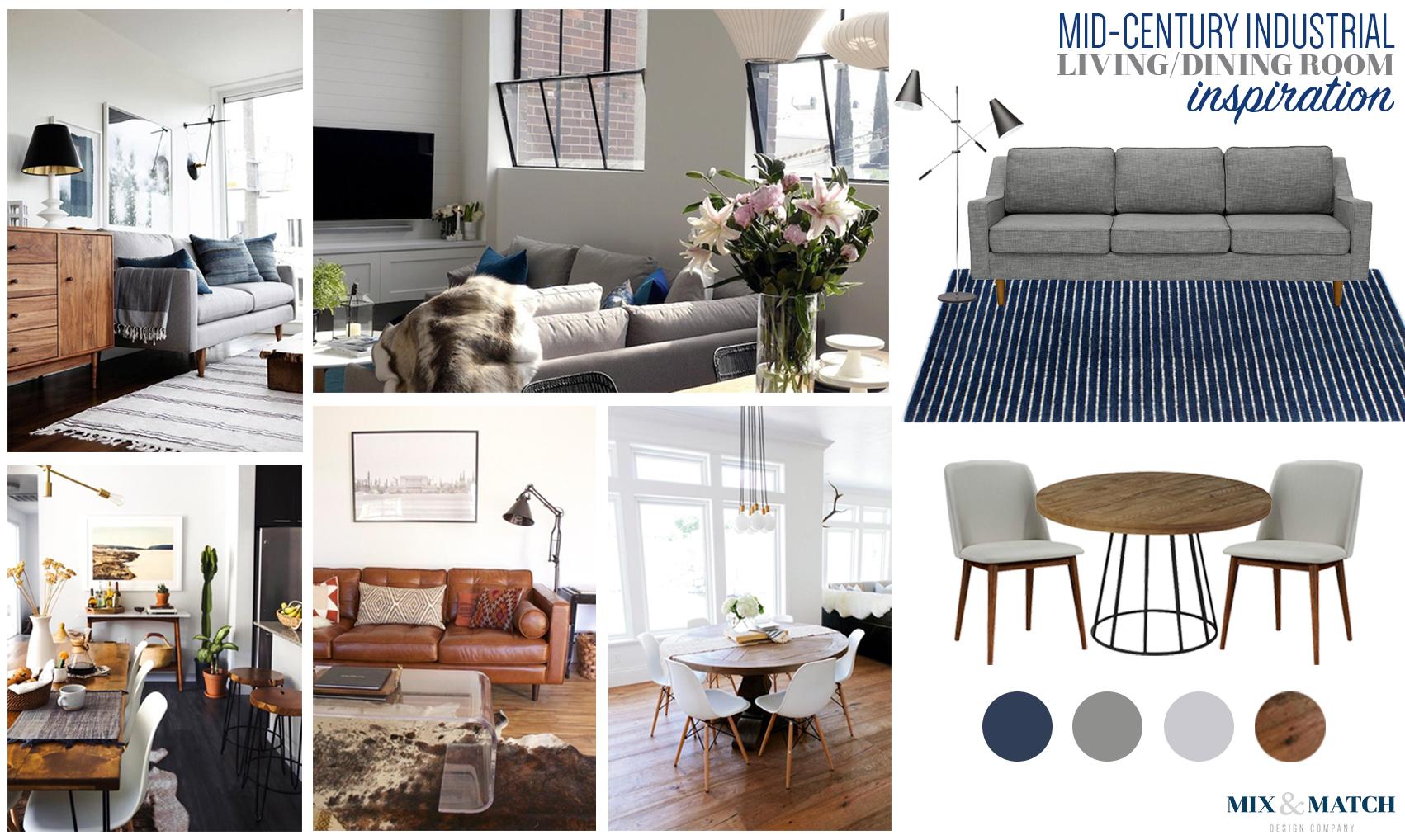 Mid-Century industrial living/dining room inspiration