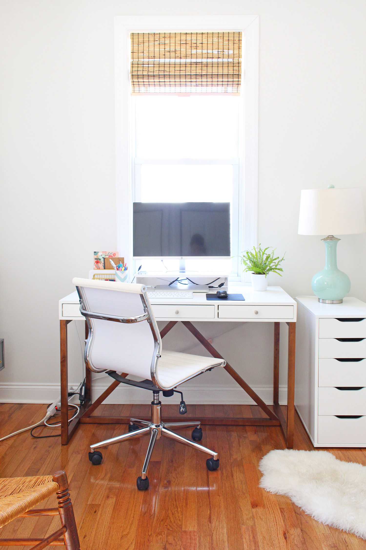 Workspace progress for my One Room Challenge home office makeover.