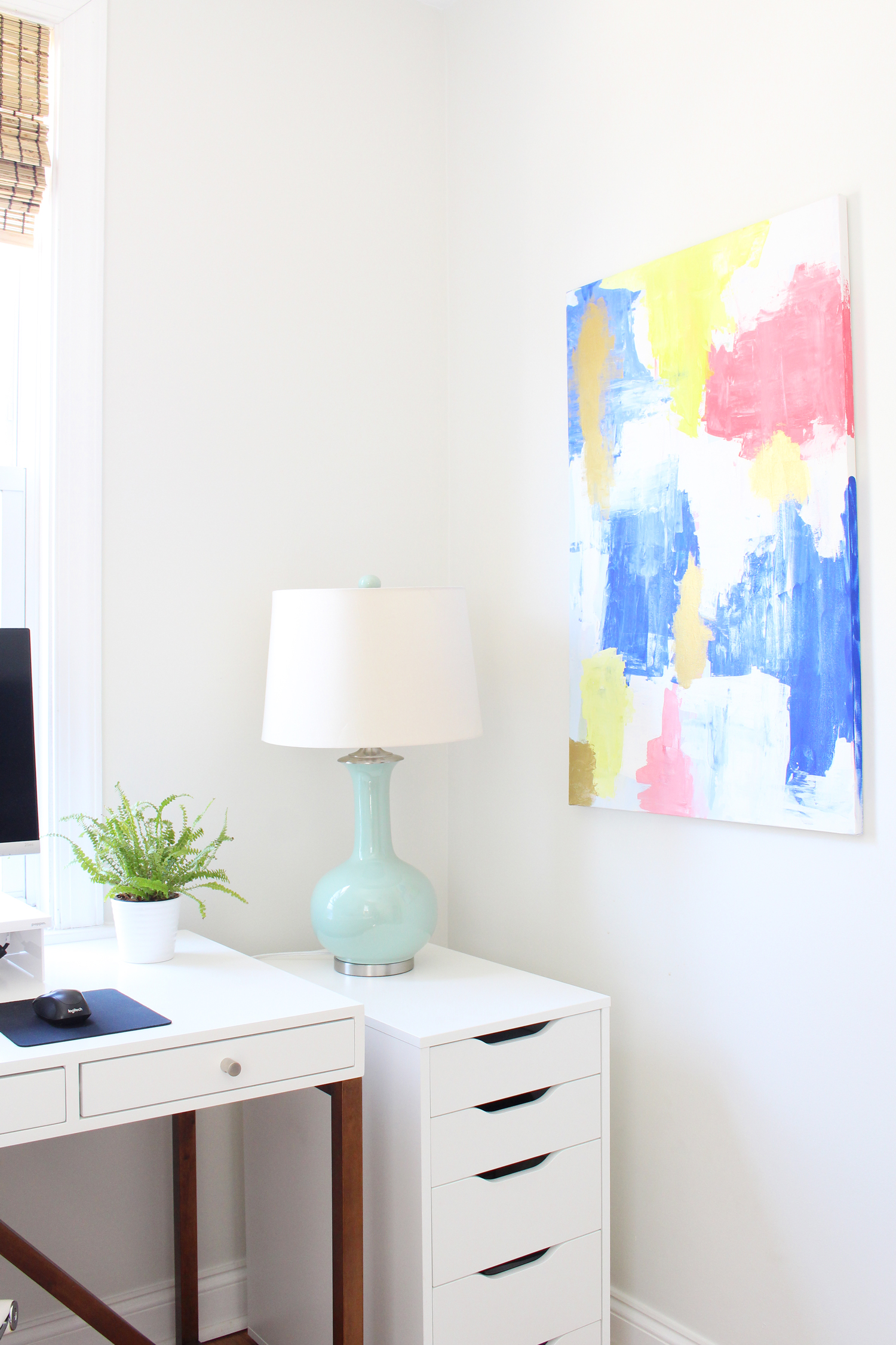 DIY abstract art in home office.
