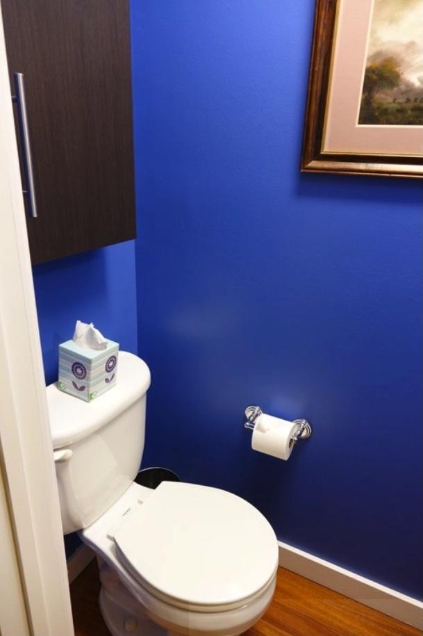 """Half bathroom """"before"""" - toilet side"""