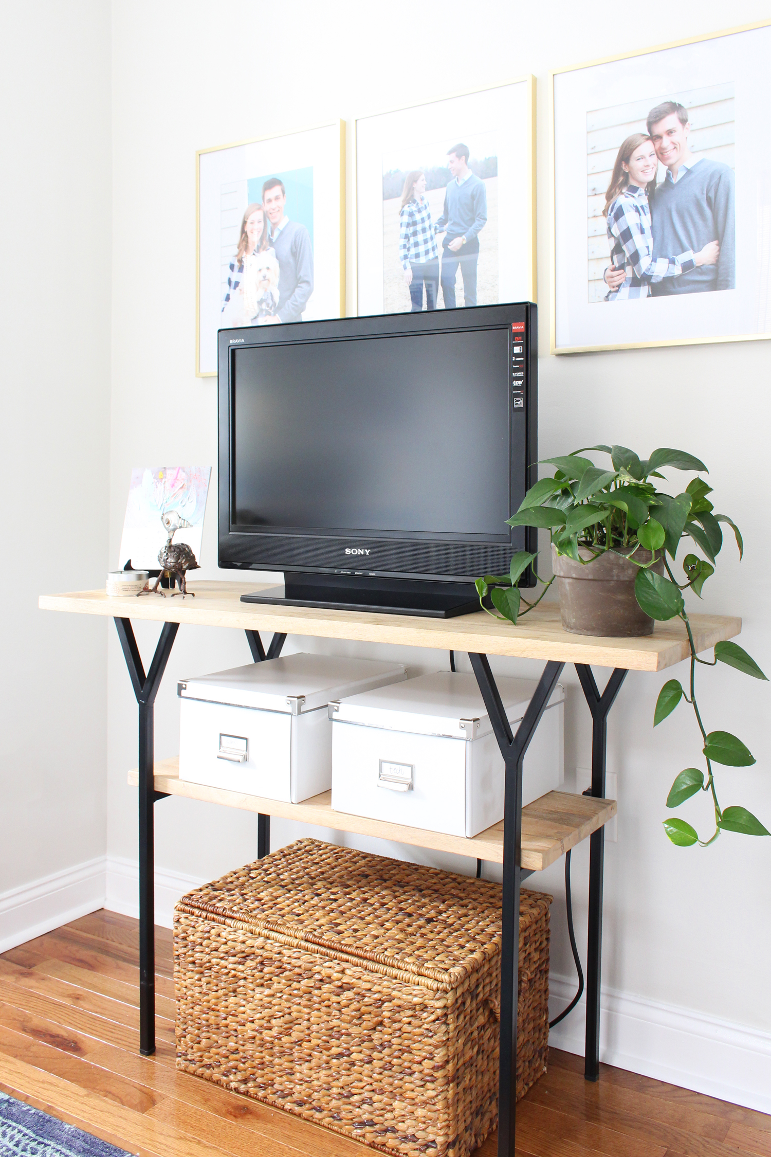 Styling a console table as a media stand in Mix & Match Design Company's home office.