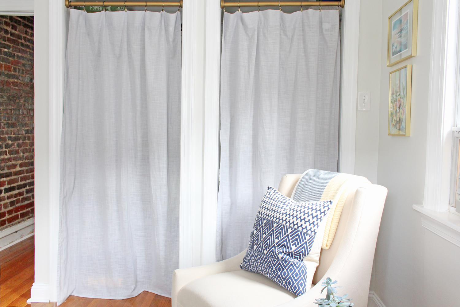 Creative closet solution: use curtains instead of bifold doors.