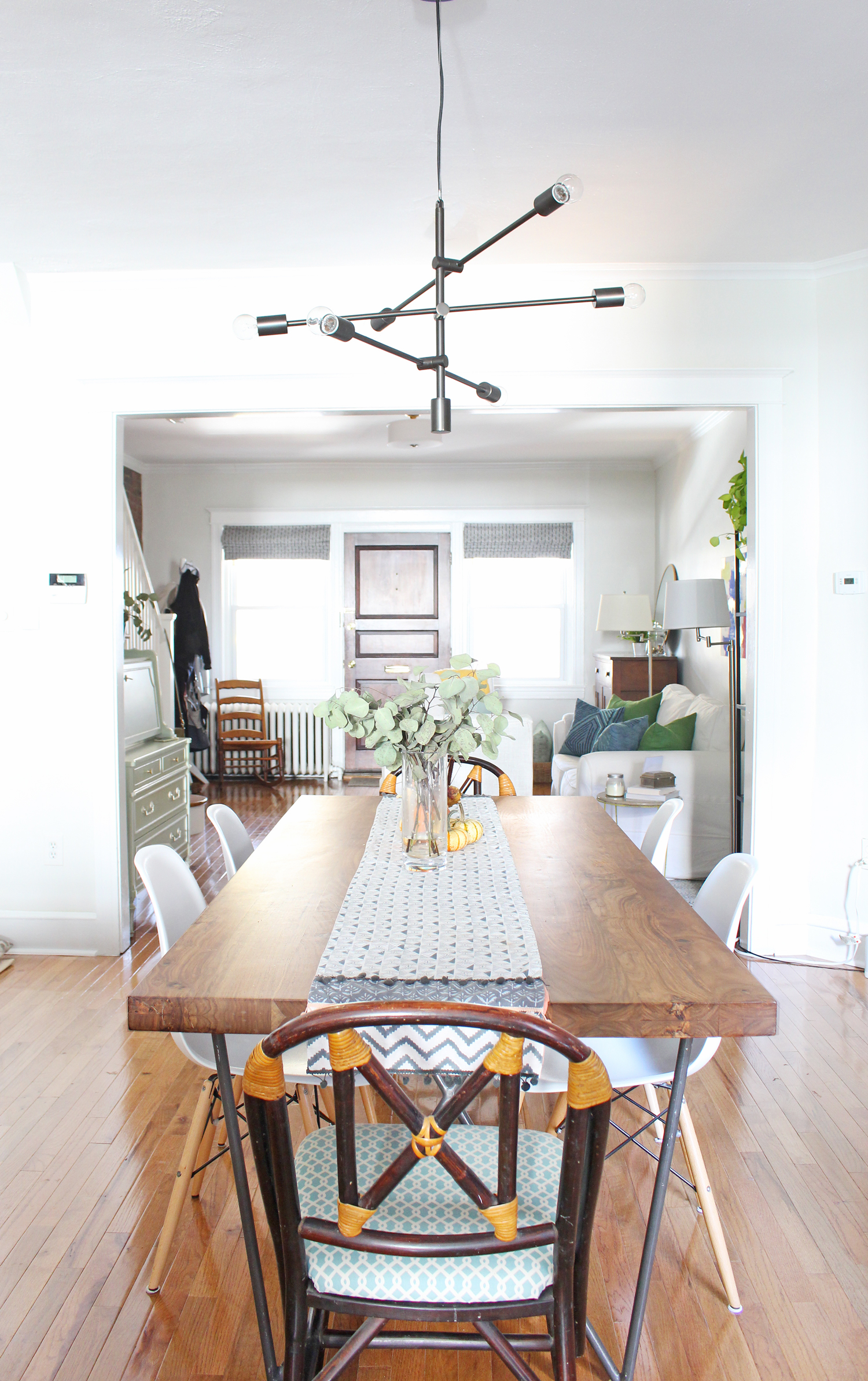 Eclectic dining room with new, vintage, and Craigslist finds.