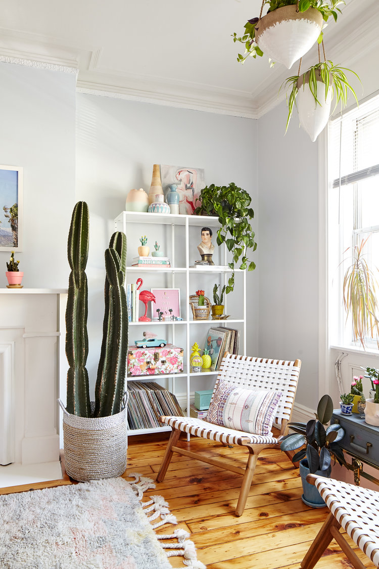 Eclectic, plant-filled living room designed by Michelle Gage for Arsenic Lace.