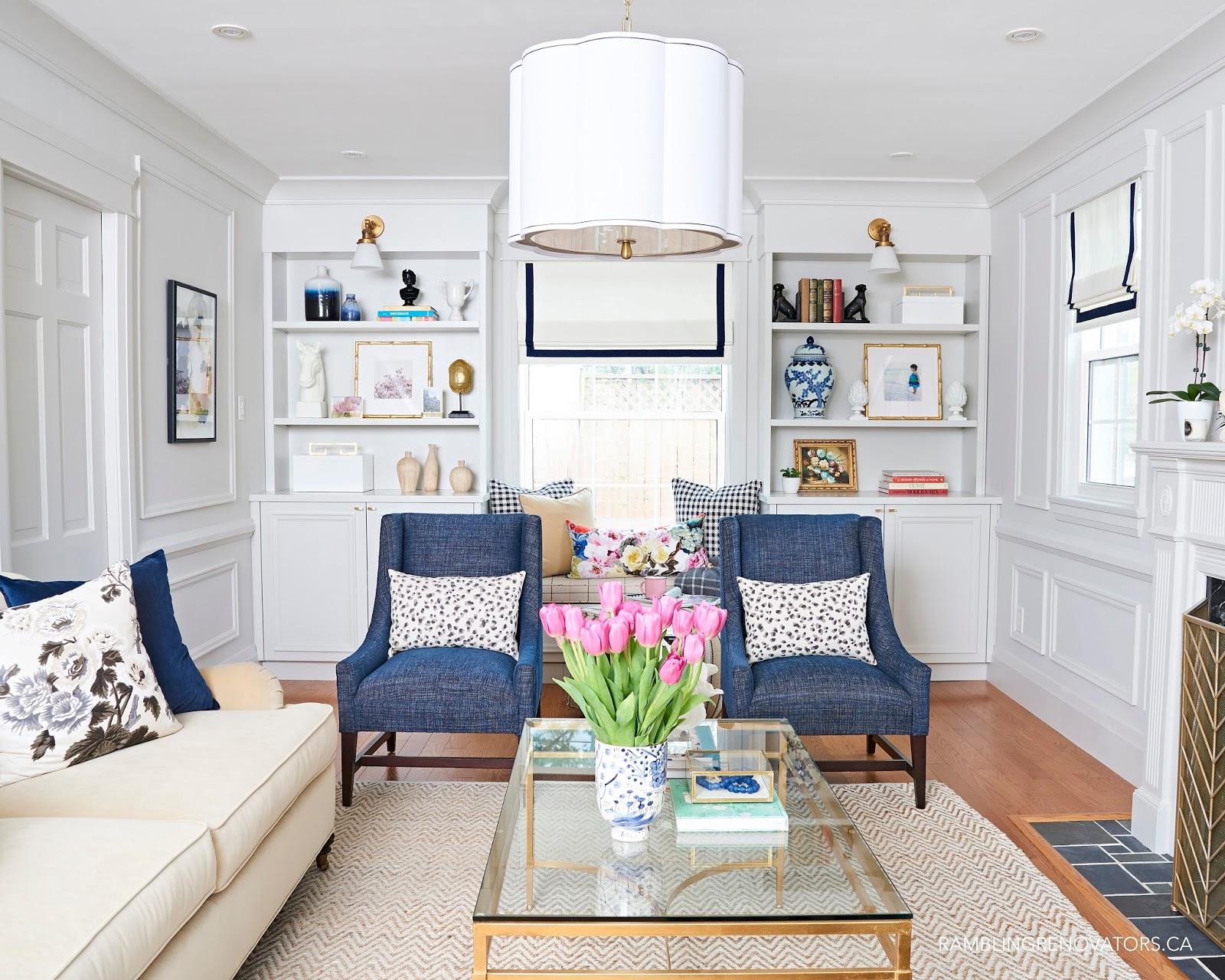 Preppy traditional living room from Rambling Renovators.
