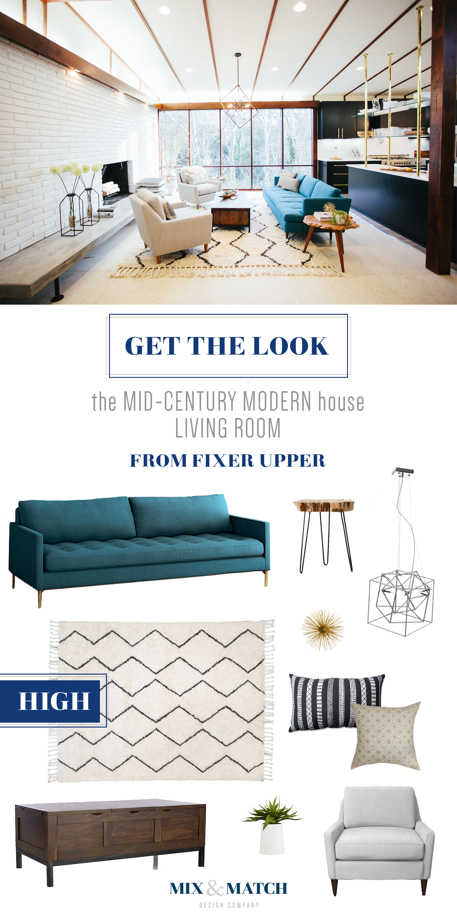 Get the look from the Mid Century Modern Ranch Living Room from Fixer Upper. Total cost for this room: ~$5,500.