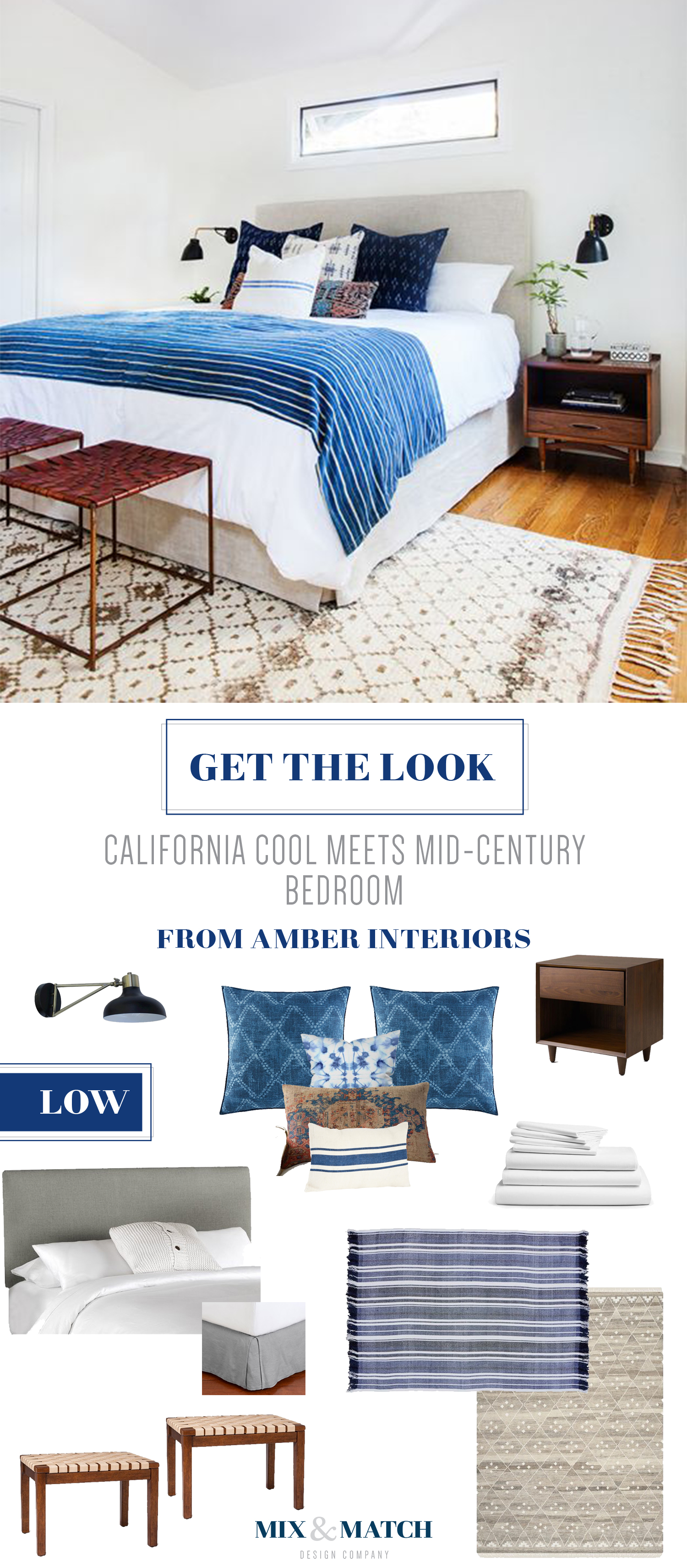 Get the look of this California cool meets mid-century bedroom from Amber Interiors.Indigo, shibori and neutrals come together to create a cozy space.Shop the pieces on the Mix & Match blog!