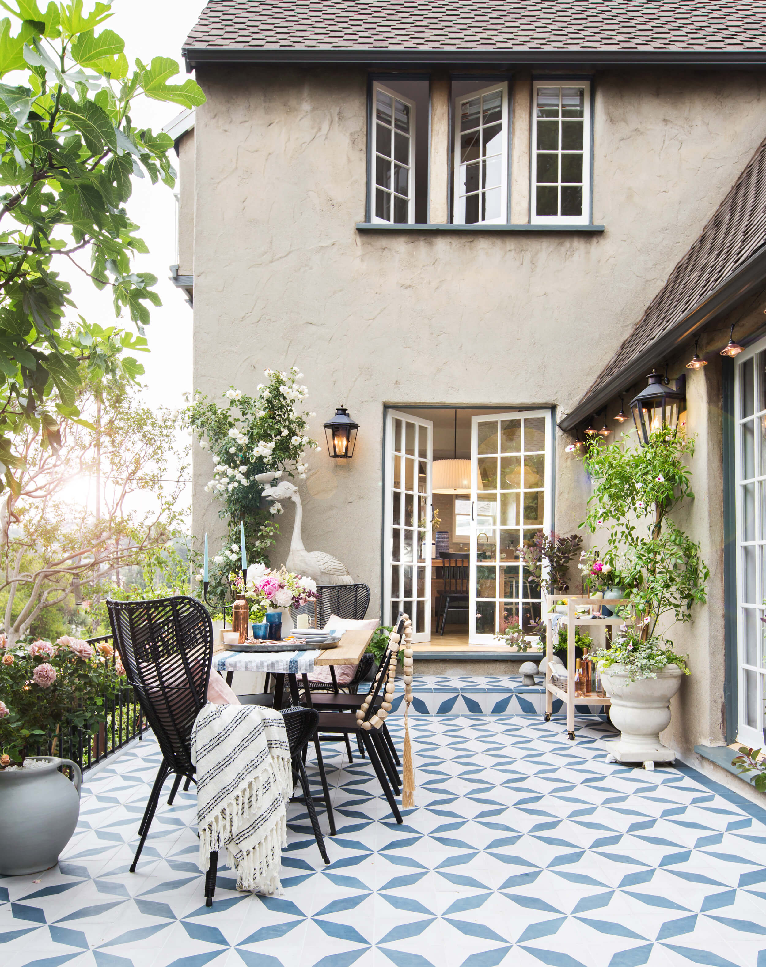 Emily Henderson's outdoor dining area in her California home.