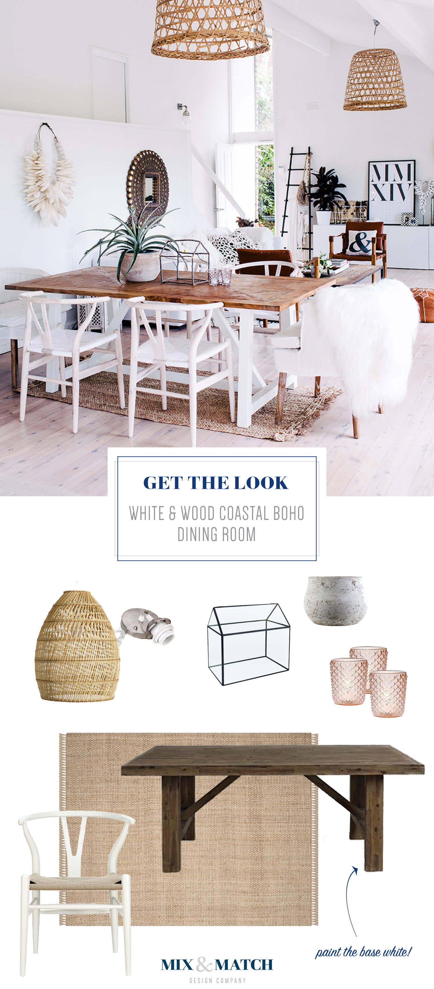 Get the look of this beautiful white and wood coastal boho dining room from Adore Magazine.