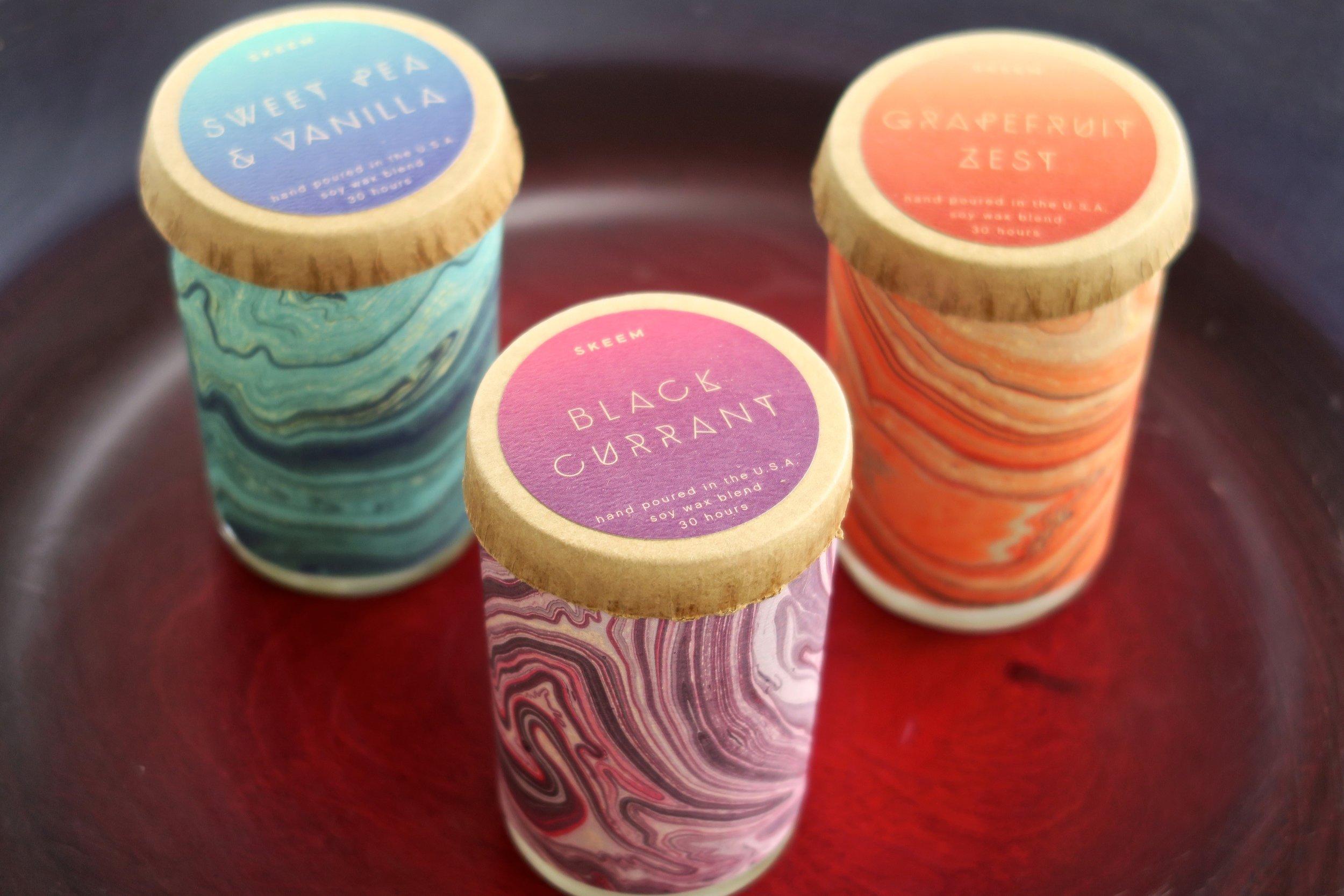 Skeem Design's marbled candles