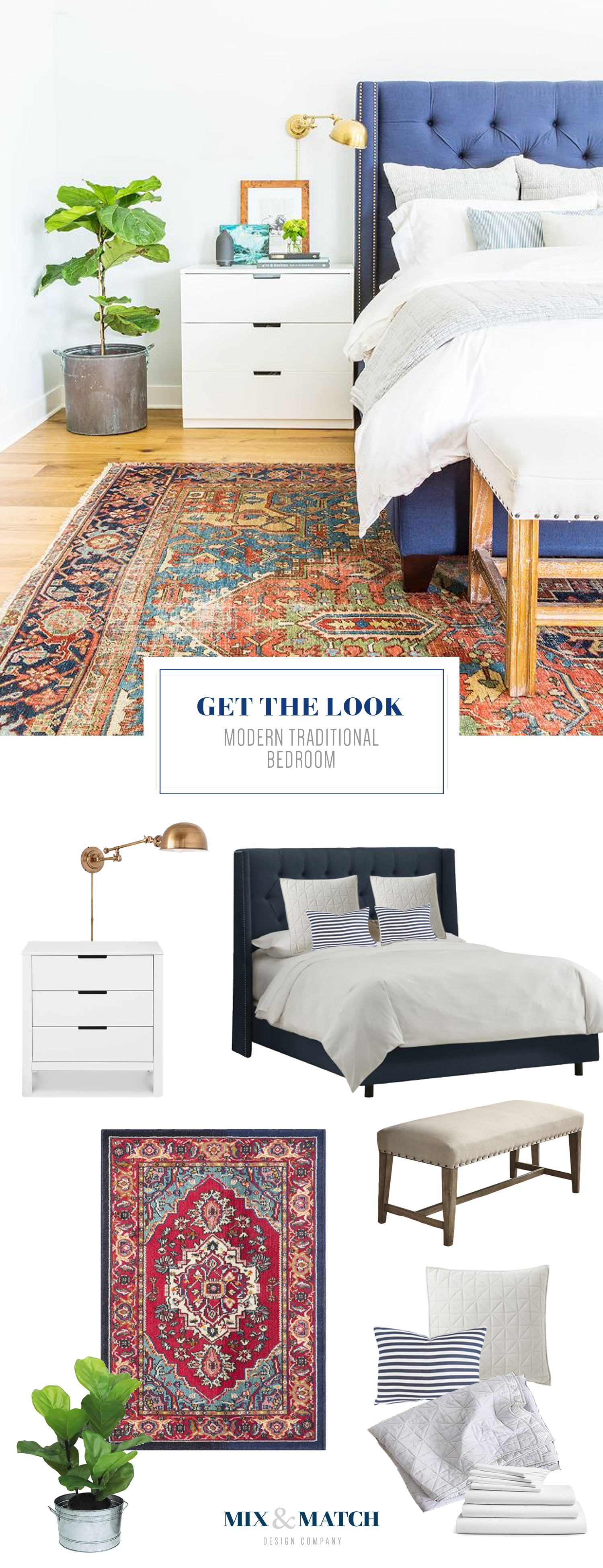 Get the look of this modern traditional bedroom on the blog! // persian rug bedroom, fiddle leaf fig, neutral bedroom, upholstered bed, upholstered headboard
