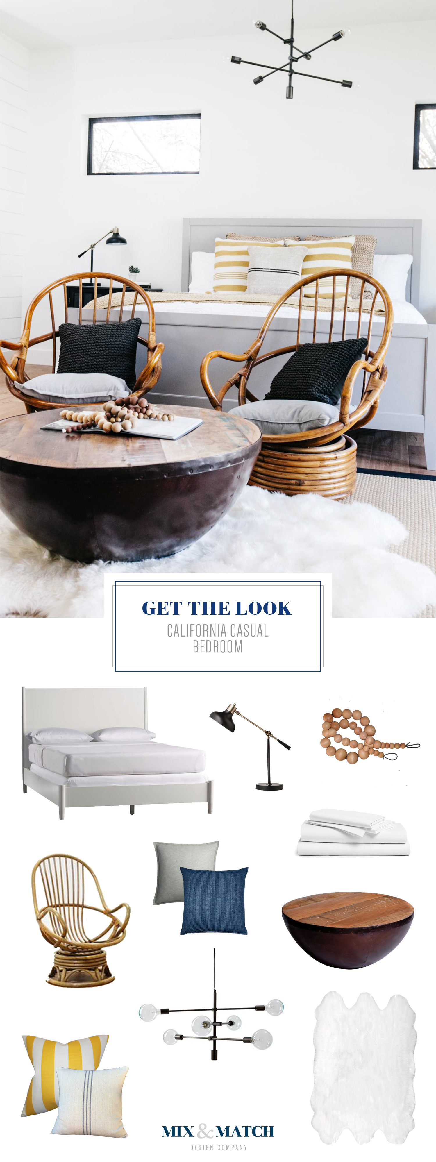 """Get the look of this """"California Casual"""" master bedroom. Sources are on the blog! Design by Lexi Grace Design. // neutral bedroom, modern eclectic bedroom, seating in bedroom, casual bedroom, eclectic boho bedroom"""
