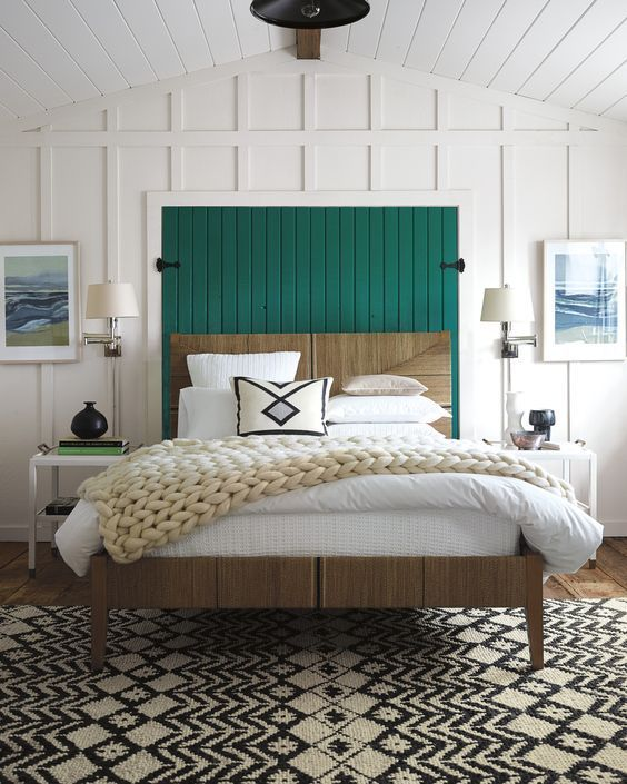 How to decorate around a bed. Example: Add art on either side of the bed. (Design: Serena and Lilly) // coastal bedroom, art above nightstands, eclectic bedroom.