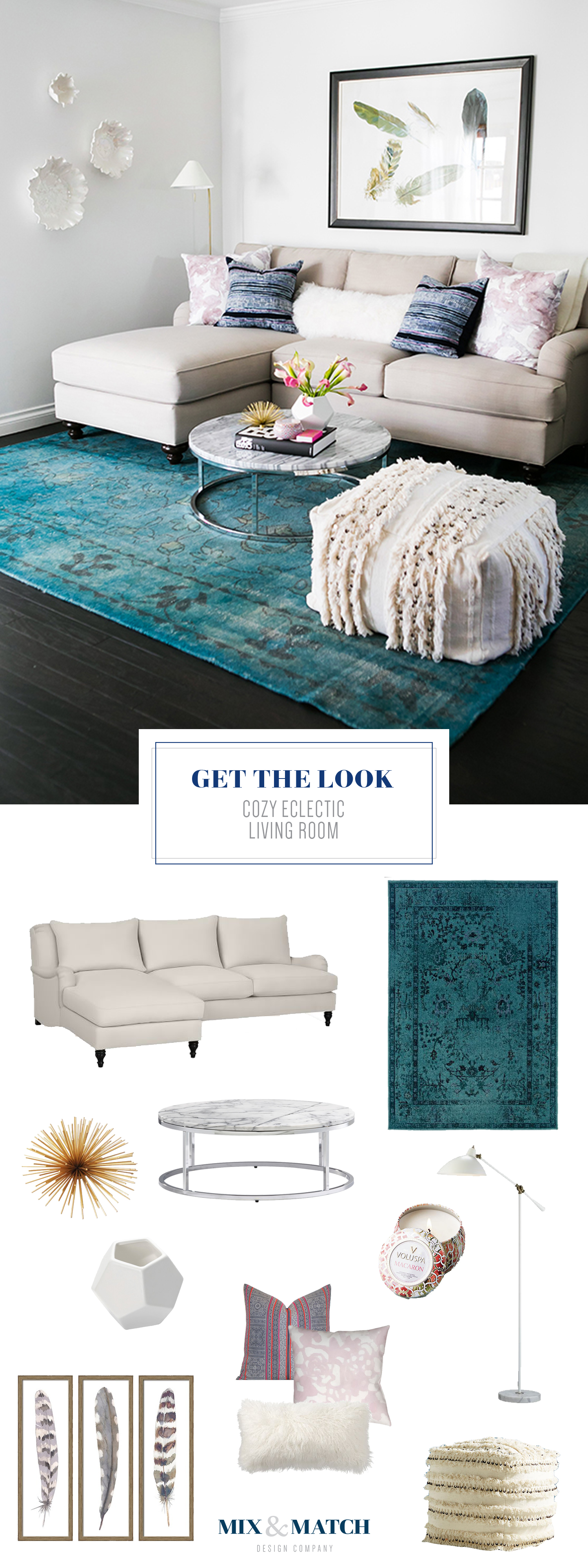 Get the look of this cozy eclectic living room on the blog! // overdyed rug, english roll arm sofa, neutral living room, boho traditional living room