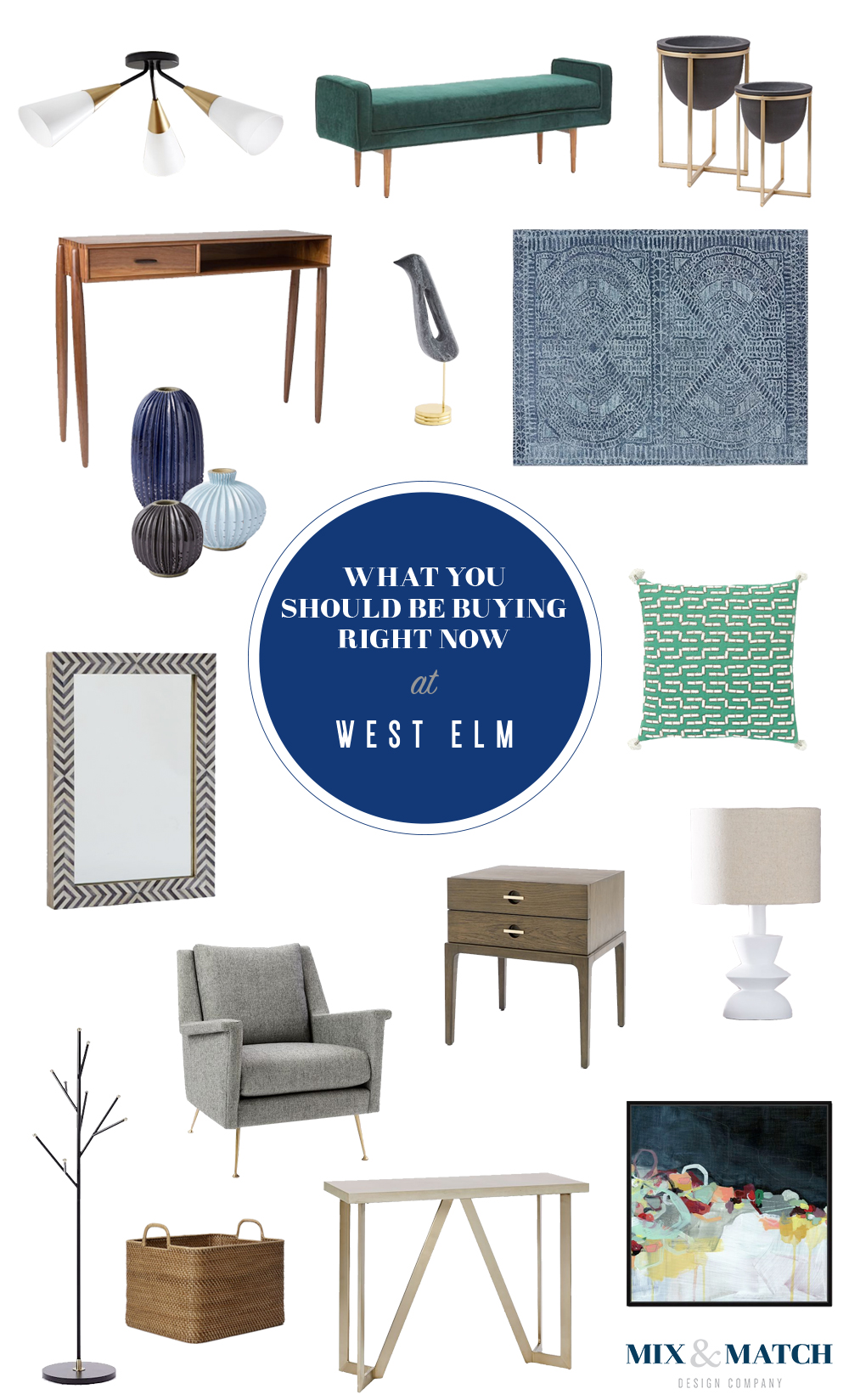 Head to the blog to see what on this designer's list to purchase from West Elm! // mid-century furniture, modern furniture, modern living room, west elm furniture