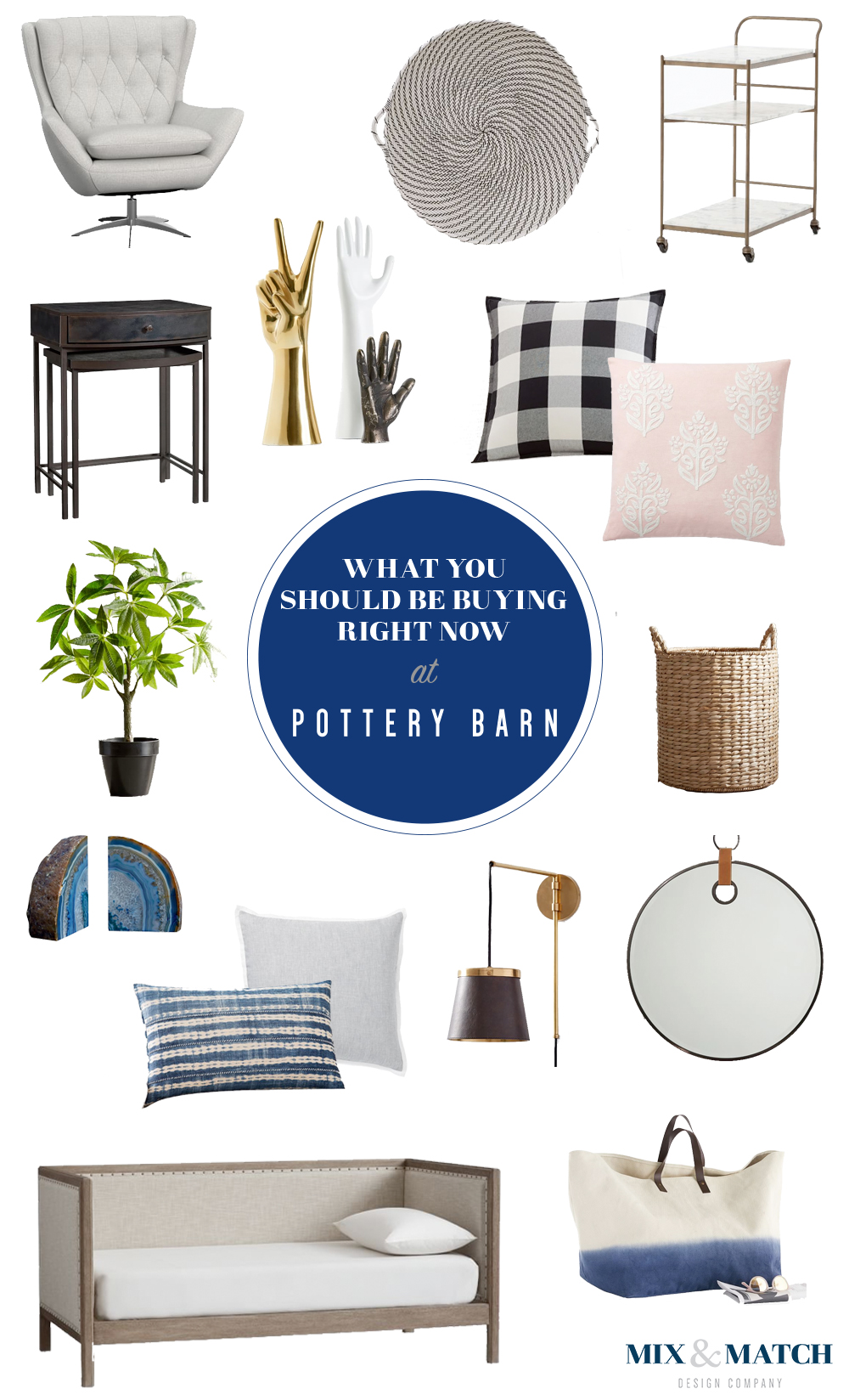 What to buy at Pottery Barn right now. Head to the blog to get the sources for  these pieces.