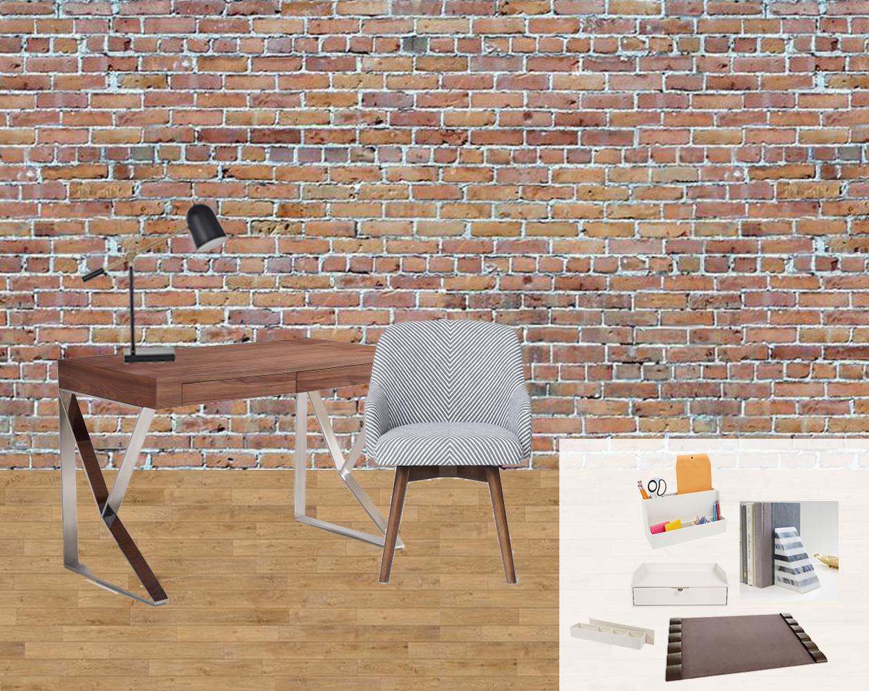 Design plan for a contemporary meets classic office area. // contemporary desk, modern desk