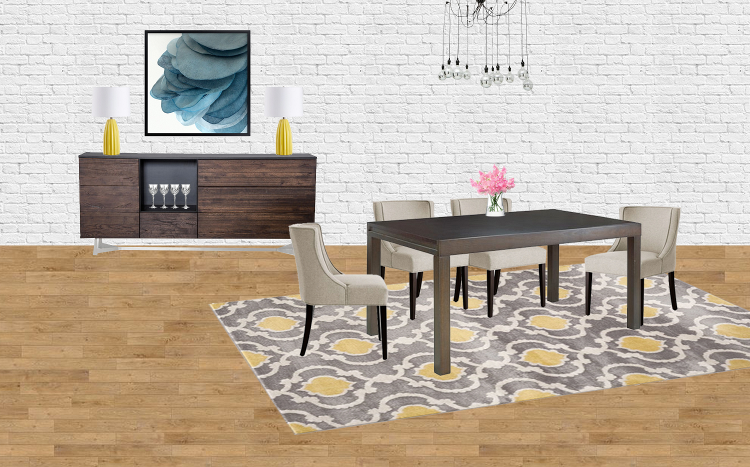 Contemporary meets classic dining room mood board // contemporary dining room, transitional dining room