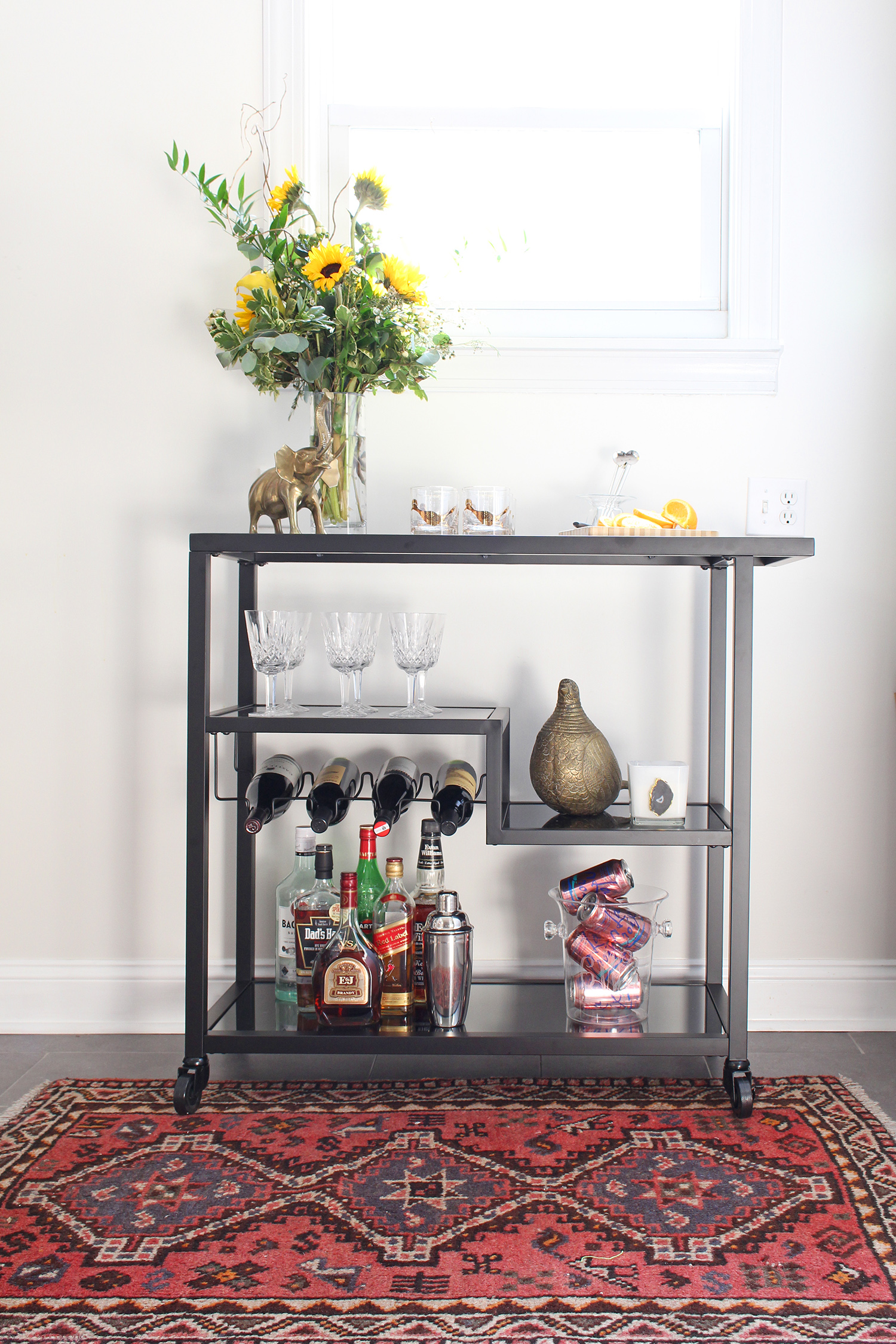 Bar carts are incredibly versatile! Style it up as a traditional drink station or use it in your bedroom for accessories. See both on the Mix & Match blog! // bar cart uses, bar cart setup, ways to use a bar cart