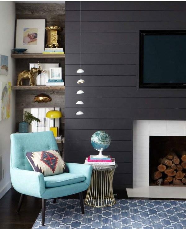 Dark shiplap wall around fireplace // mid-century shiplap living room // Emily Henderson