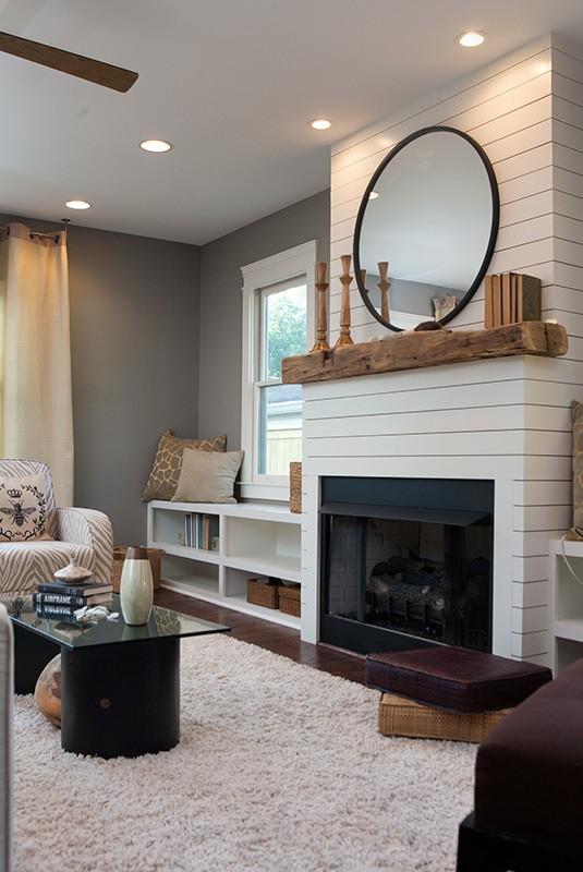 Modern shiplap in living room // modern rustic shiplap fireplace
