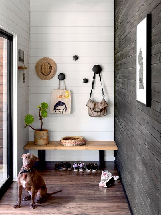 Shiplap in a modern entryway