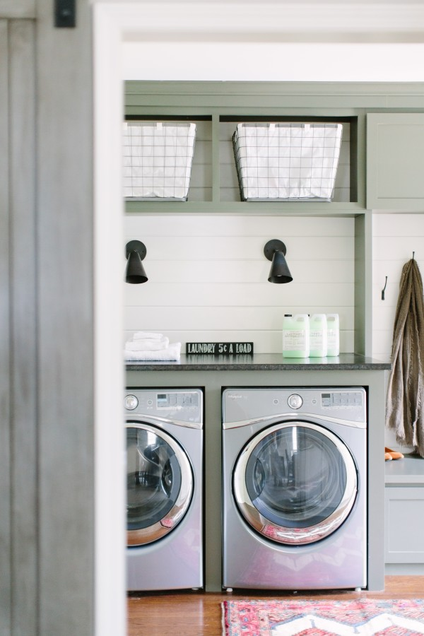 Laundry room shiplap // modern cottage laundry room // green cabinets laundry room