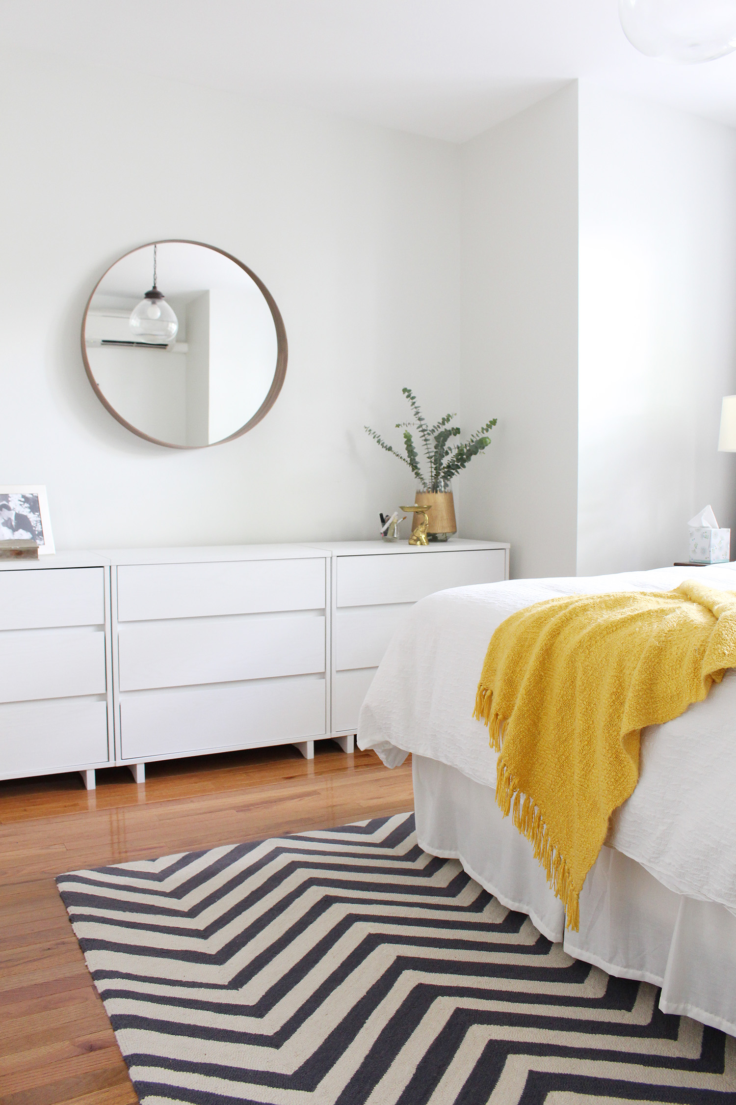 Adding mirrors is one trick to make a small space feel bigger. Get more ideas at the Mix & Match Blog.