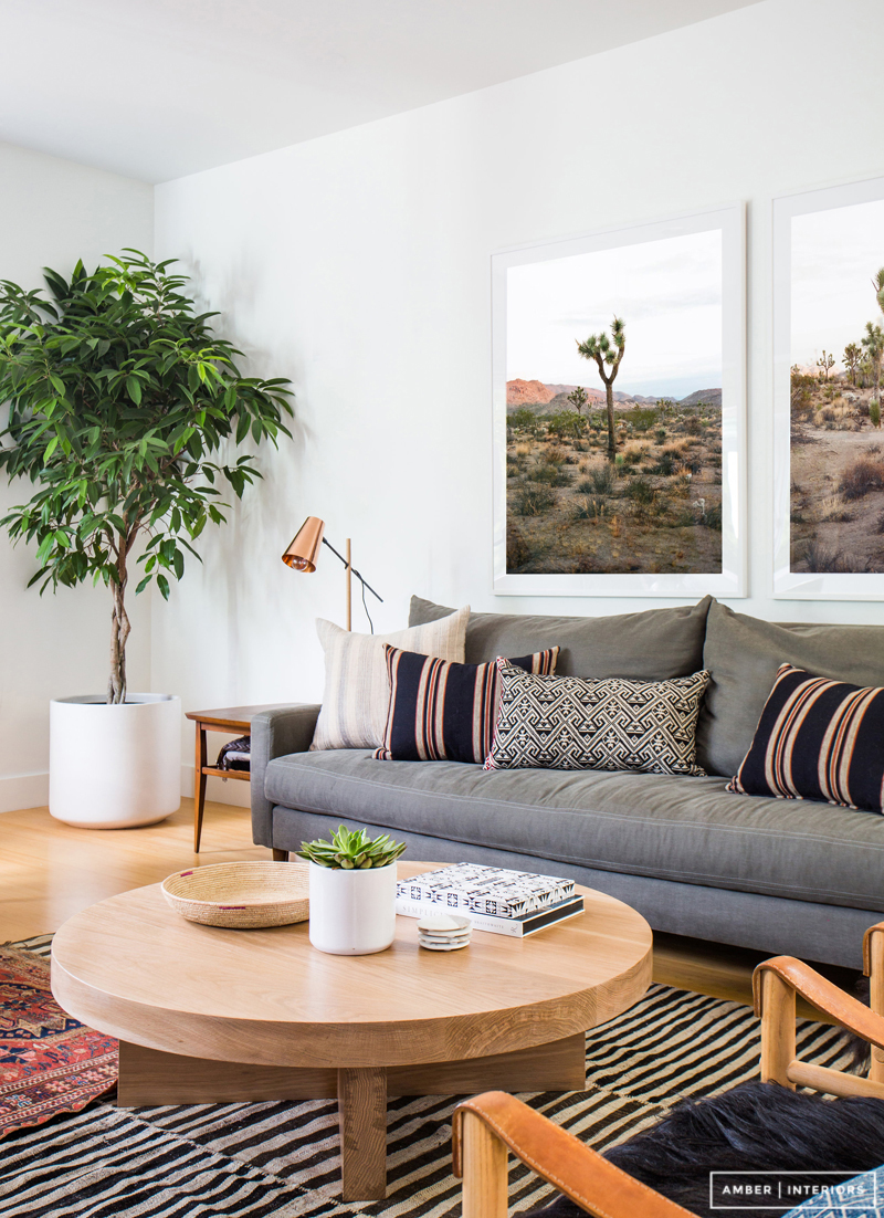 Cozy modern boho living room from Amber Interiors