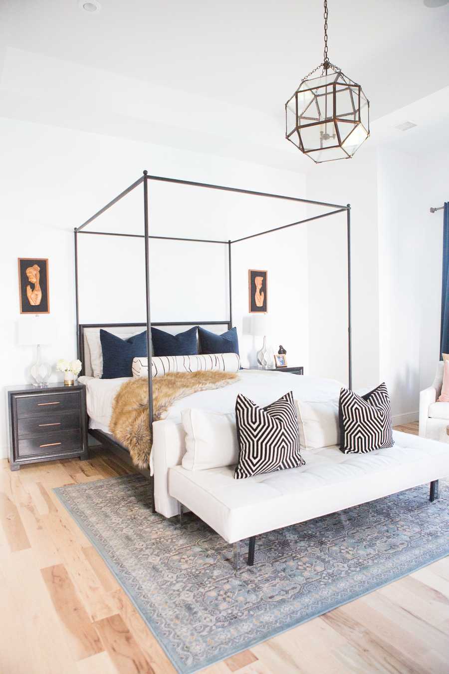 Modern preppy bedroom inspiration, navy black and white bedroom, canopy bed