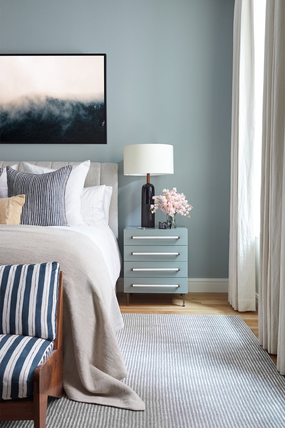 Modern preppy bedroom inspiration, blue linen stripe bedroom