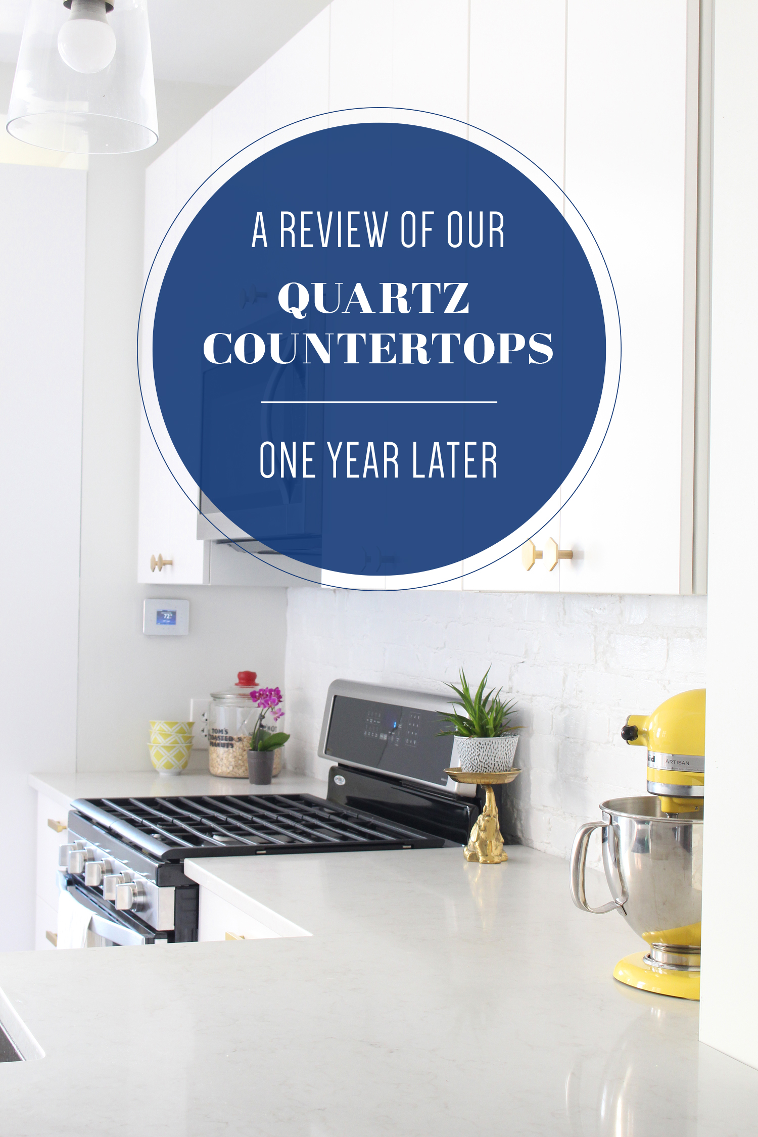 Read a review of our Caesarstone London Grey quartz countertops after a year of living with them. || quartz countertops, quartz countertop review, marble-look countertops, kitchen countertop materials.