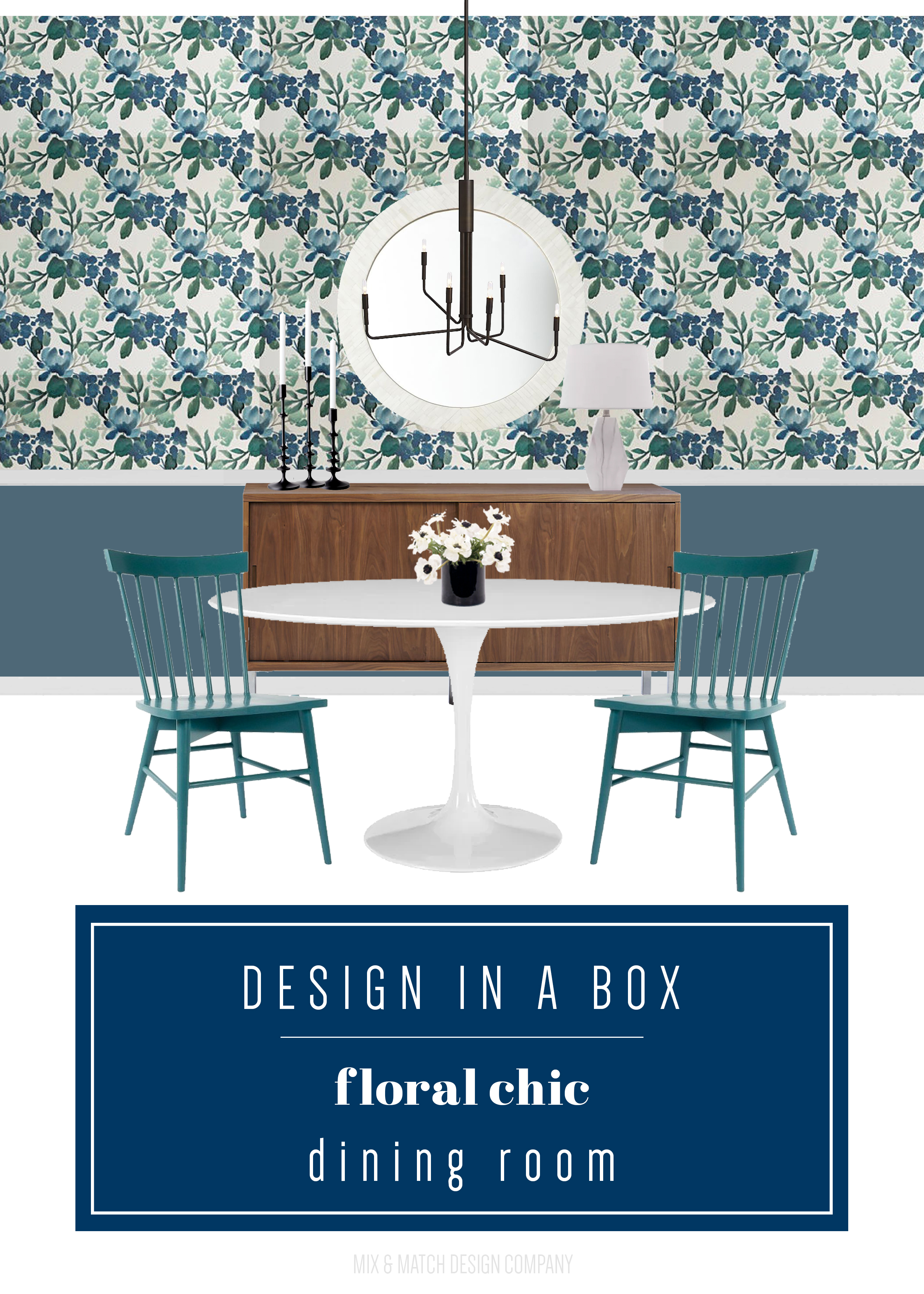 Through the Design In A Box series, you can get the sources for this look pulled together by an interior designer FOR FREE.This week it's a floral chic dining room with removable wallpaper!   blue green dining room, floral dining room, eclectic modern dining room, floral wallpaper, peel and stick wallpaper