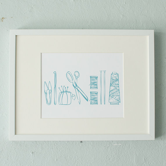 Shop small for Small Business Saturday! This post has a roundup of some of the best Etsy shops for home and decor. (Crafy tools art print from Vital)