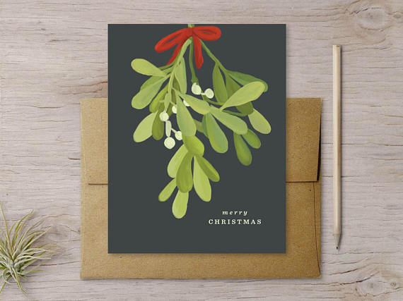 Shop small for Small Business Saturday! This post has a roundup of some of the best Etsy shops for home and decor. (Mistletoe holiday cards from Favorite Story)