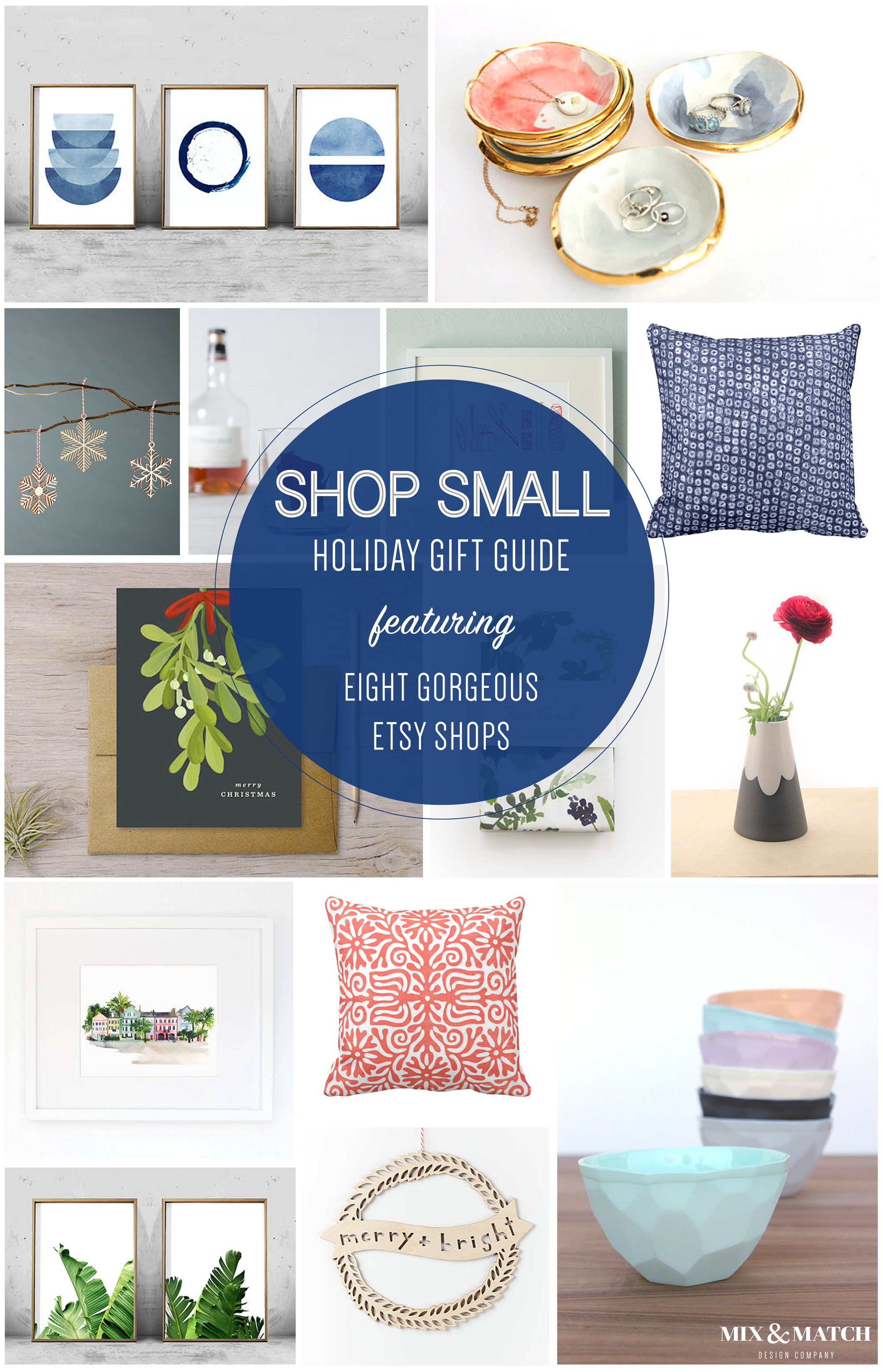 Shop Small this holiday season! Etsy is a great way to support small businesses, and this gift guide is a great place to start. Find art prints, ornaments, modern ceramics, pillows, and more. // Mix & Match Design Company Gift Guides
